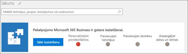 Ekrānuzņēmums ar Business Cloud Suite iestatīšanas vedni.
