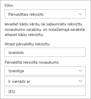Iezīmētā satura ar pārvaldīto rekvizītu filtrs