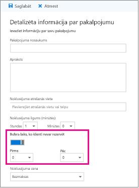 Buferis laika opciju lapā detalizēta informācija par pakalpojumu