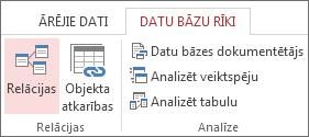 Cilnes Datu bāzes rīki komanda Relācijas
