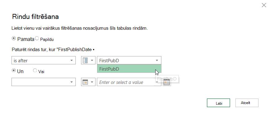 Dialoglodziņš filtra rindas, kurā tiek rādīts atlasītais parametrs