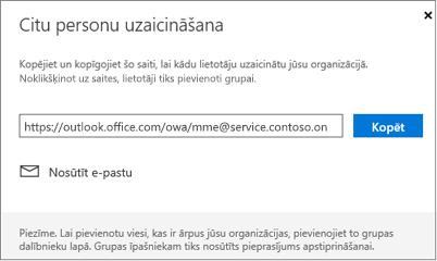 Noklikšķiniet uz kopēt vai e-pasta saites pievienoties iegulšana e-pasta ziņojumā