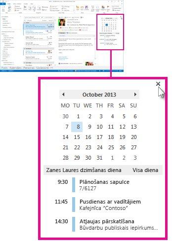 Ieskata noņemšanas komanda piespraustajā kalendāra ieskatā