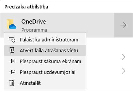 Ekrānuzņēmums, kurā redzama peles labās pogas klikšķa izvēlne sākuma izvēlnē ar atlasītu vienumu Atvērt faila atrašanās vietu.