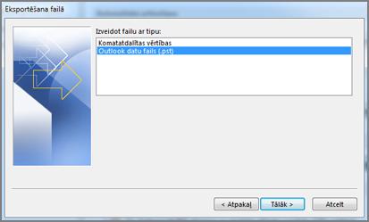 Eksportēšana uz datu failu