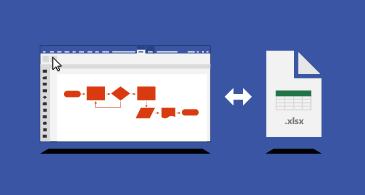 Visio shēma un Excel darbgrāmata, vidū ir divvirzienu bultiņa
