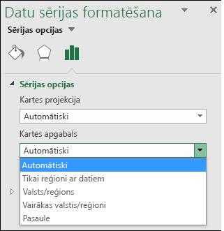 Excel kartes diagrammas apgabala kartes opcijas
