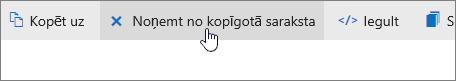 Ekrānuzņēmums, kurā redzama poga Noņemt no koplietojamā saraksta vietnē OneDrive.com.