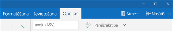 Outlook pasta programmas cilne Opcijas