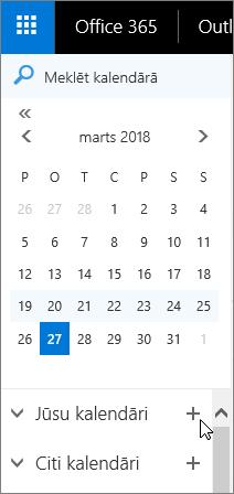 Ekrānuzņēmumā redzams kalendāra navigācijas rūts apgabals Jūsu kalendāri un Citi kalendāri.