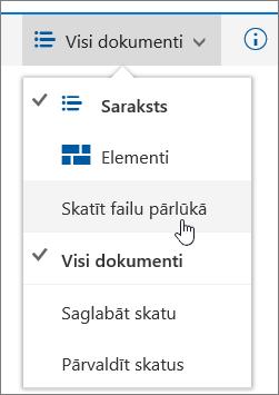 SharePoint Online skatu izvēlnē iezīmēts vienums Atvērt ar Explorer
