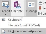 Programmā Outlook, cilnes Kontaktpersona grupā darbības izvēlieties Foward un pēc tam izvēlieties kādu opciju.