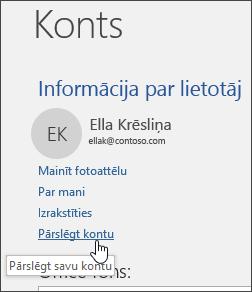 Ekrānuzņēmums, kurā parādīts, kā pārslēgt kontus sadaļā Konta informācija