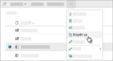 Ekrānuzņēmums, kurā kopēt komanda pakalpojumā OneDrive darbam