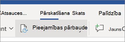 Pieejamības pārbaude programmā Word tīmeklī