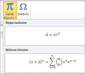 standarta formatējuma vienādojumi sarakstā vienādojums