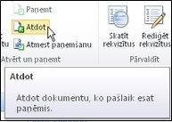SharePoint lente ar kursoru, kas norāda uz ikonu Atdot