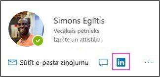 Redzama LinkedIn ikona profila kartītē