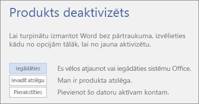 Ekrānuzņēmums, kur redzams kļūdas ziņojums Produkts deaktivizēts