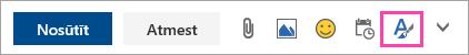 Ekrānuzņēmums ar pogu formatēšanas opcijas