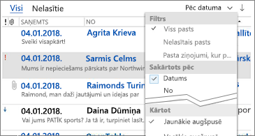 Ziņojumu kārtošanai pieejamo filtru saraksts