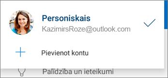 Konta pievienošana programmā OneDrive darbam ar Android
