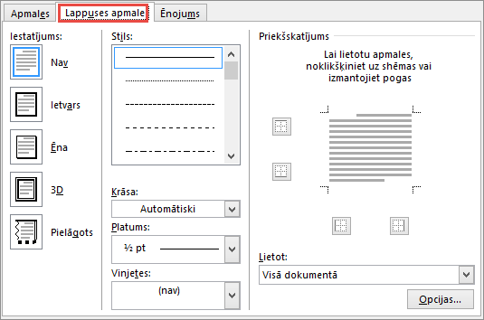 Word 2010 Page Border tab of Borders and Shading dialog box