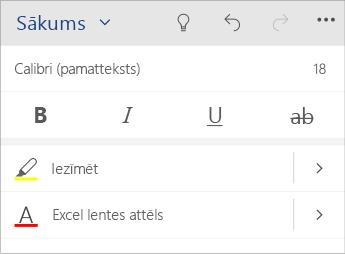 Ekrānuzņēmums ar teksta formatēšanas izvēlni programmā Word Mobile.
