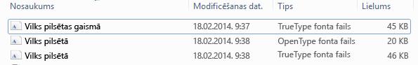 Fontu saraksts no ZIP arhīva izgūtajā failā.