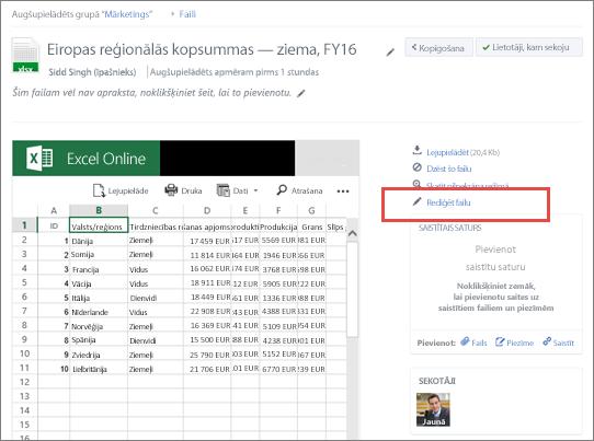 Koplietojama faila rediģēšana pakalpojumā Yammer