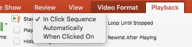 Atskaņot video PowerPoint opcijas