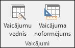 Access lentes grupā Vaicājumi tiek parādītas divas opcijas: Vaicājumu vednis un Vaicājuma noformējums