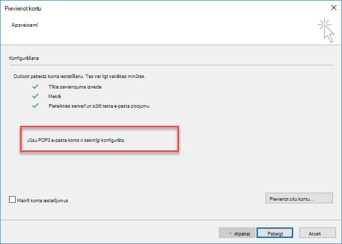 Outlook konta pievienošana kā POP