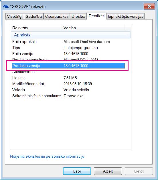 groove.exe rekvizītu dialoglodziņš, kurā tiek rādīta OneDrive darbam sinhronizācijas lietojumprogrammas produkta versija.