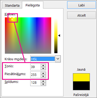 Selection in Colors rectangle sets hue and saturation