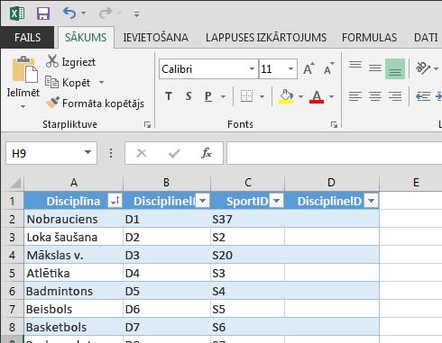 tabulas paplašināšana programmā Excel