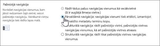 Pašreizējā navigācijas sadaļa ar atlasītu pārvaldīto navigāciju