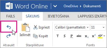 izmaiņu atsaukšana tīmekļa programmā Word Online