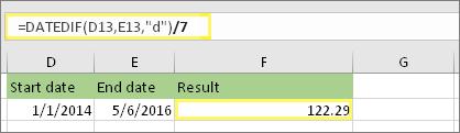 """=(DATEDIF(D13,E13,""""d"""")/7) un rezultāts: 122.29"""