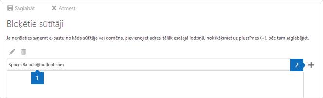 Ekrānuzņēmums ar lapu Bloķētie sūtītāji.
