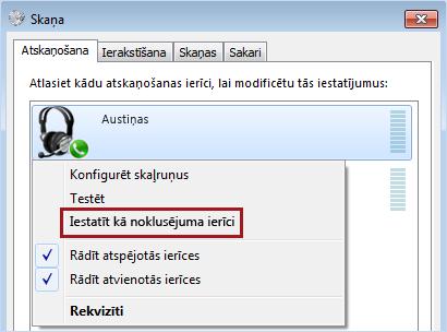 Noklusējuma ierīces iestatīšana sistēmā Windows
