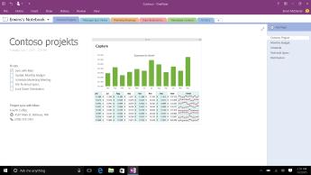 OneNote piezīmju grāmatiņa ar Contoso projekta lapu, kurā redzams uzdevumu saraksts un ikmēneša izdevumu pārskata joslu diagramma.