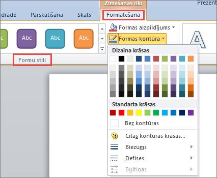 PowerPoint 2010 formas apmales opcijas