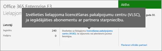 Lielapjoma licencēšana pakalpojumu centra (VLSC) saite.