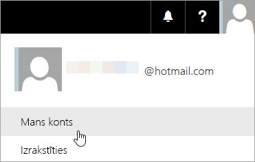 Ekrāna tveršanas mana konta atlases nolaižamajā izvēlnē.