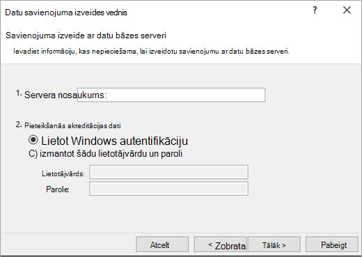 Datu savienojuma vedņa 1. ekrāns