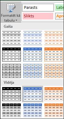 Excel stilu galerijas izvēles opcijai Formatēt kā tabulu