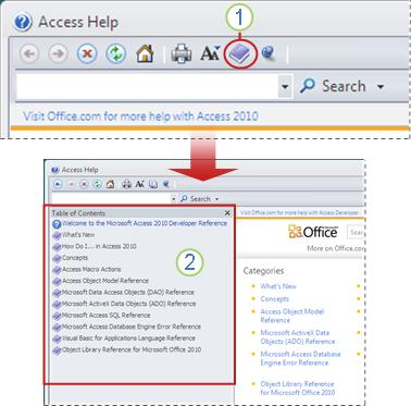 Displaying the Table of Contents in the Access Help viewer.