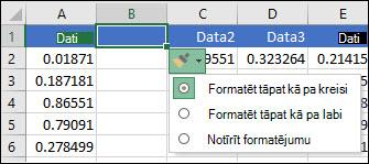 Pogas ievietošanas opcijas attēls, kas tiek parādīts pēc rindu vai kolonnu ievietošanas.