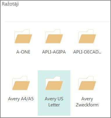 Pastkaršu veidnes konkrētiem pastkaršu ražotājiem, piemēram, Avery.